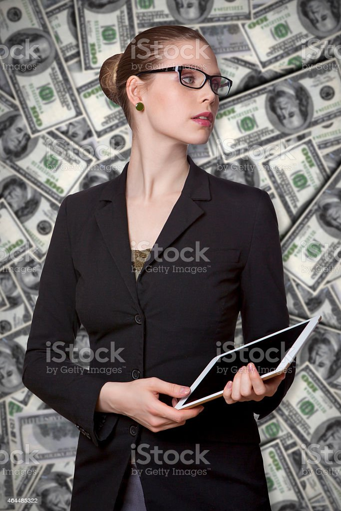 Business woman with tablet stock photo