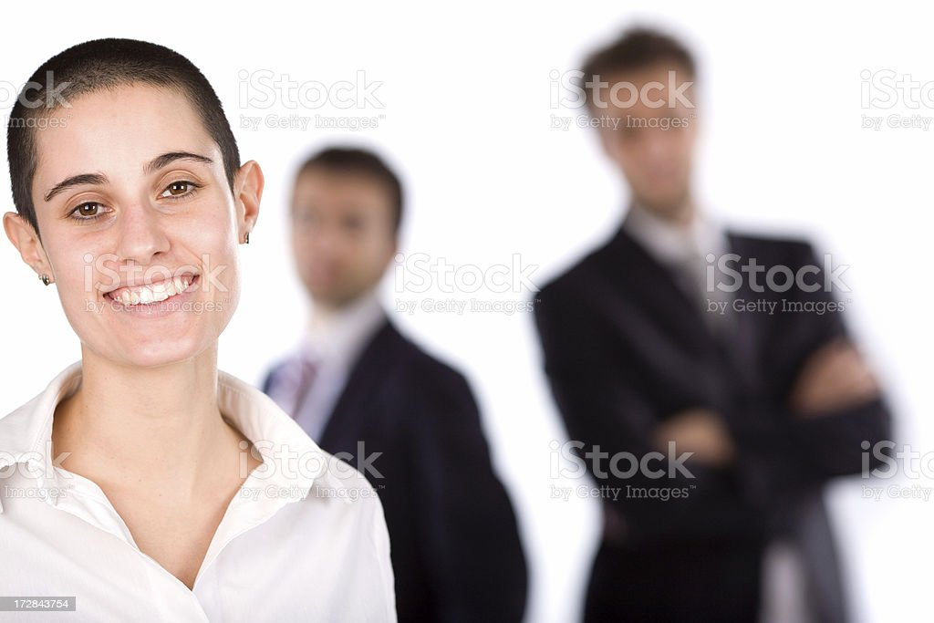 business woman with team defocused on background royalty-free stock photo