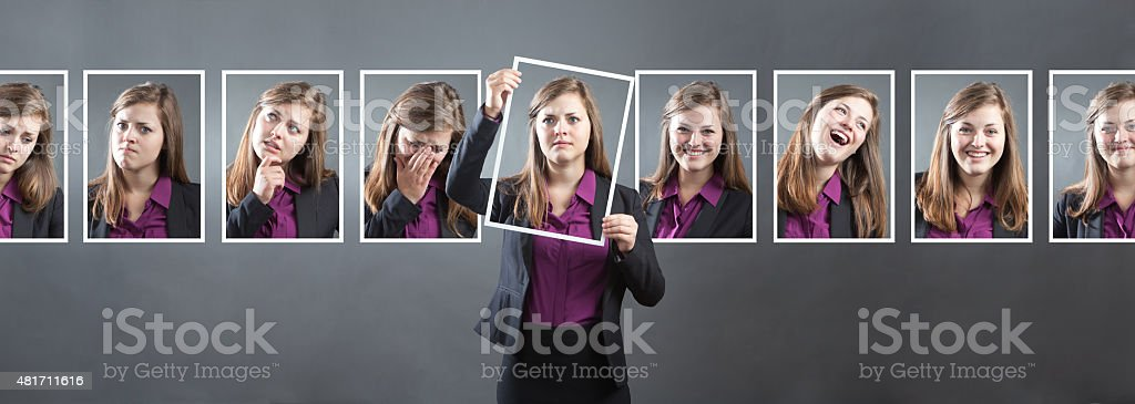 Business Woman with Various Personality, Character and Emotional Expressions stock photo