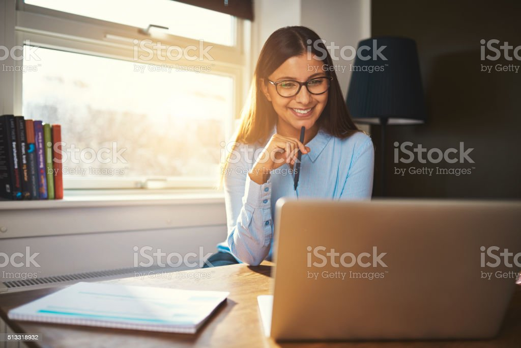 Business woman working at office stock photo