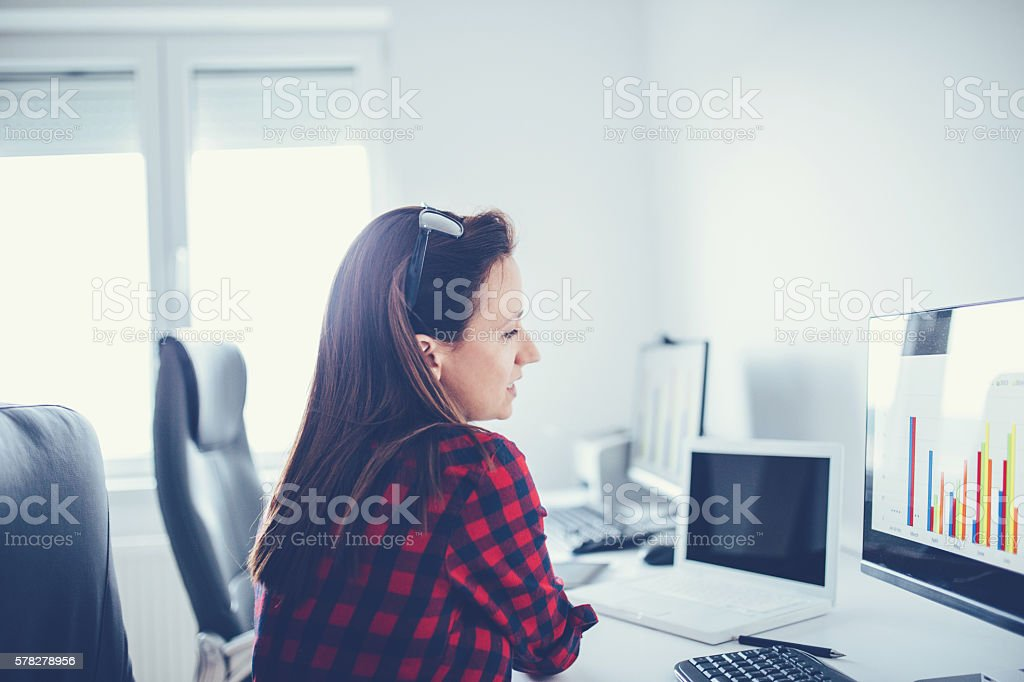 Business woman working at the home office stock photo
