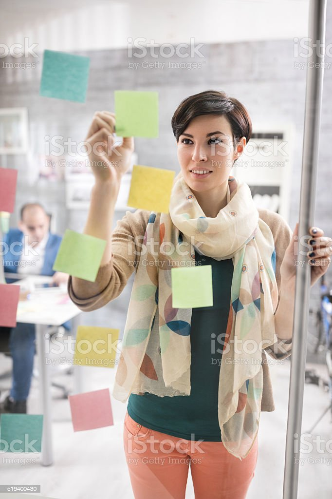 Business woman working in graphic studio stock photo