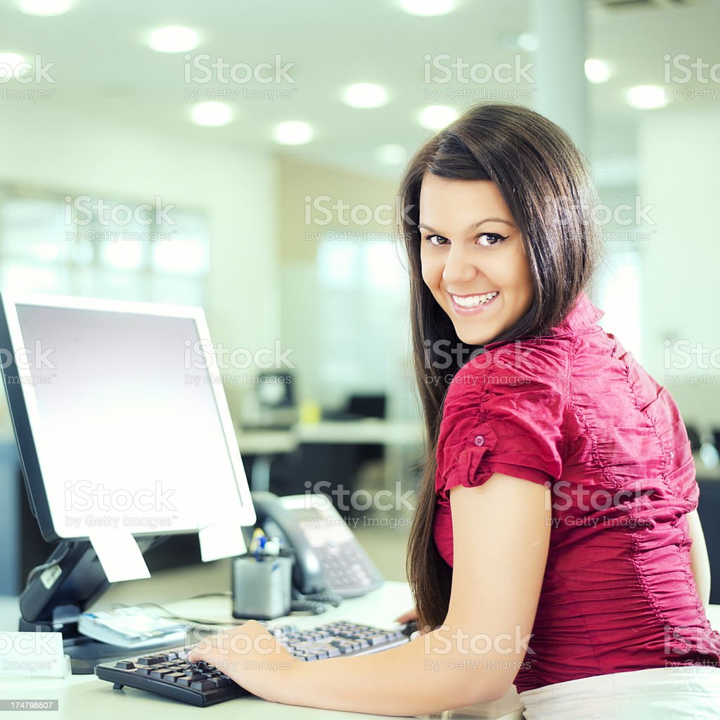 Business woman working on a PC royalty-free stock photo