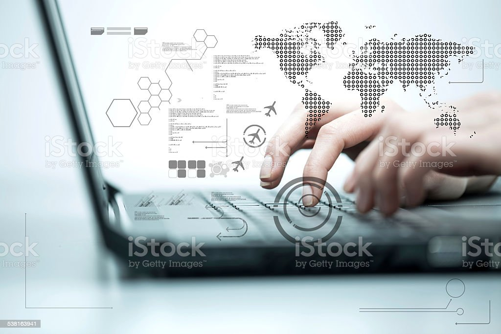 Business woman working on computer against technology background stock photo