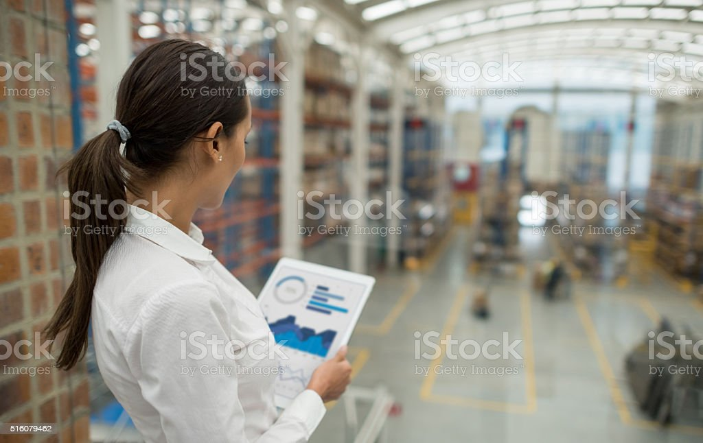 Business woman working on freight transportation stock photo