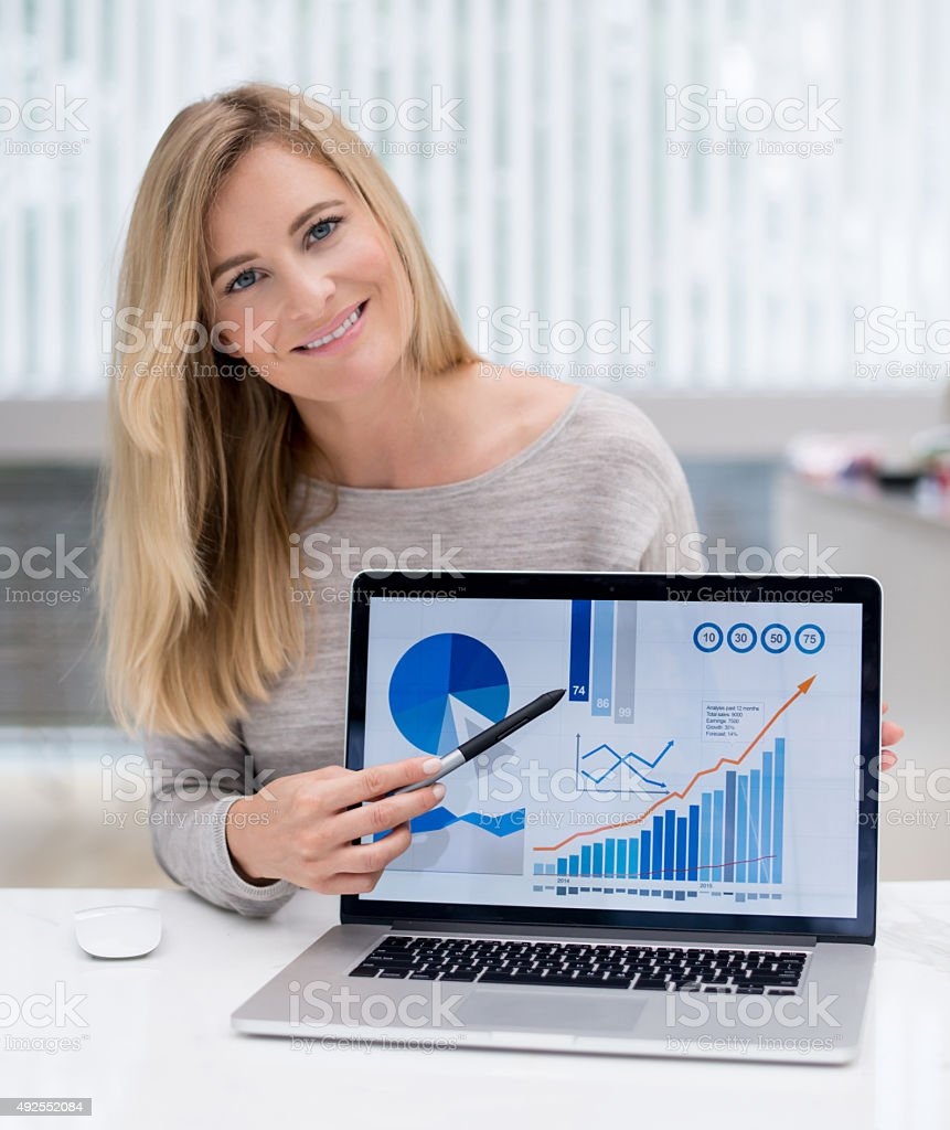 Business woman working online at home stock photo