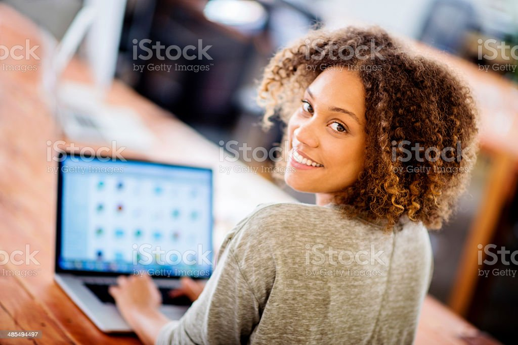Business woman working online stock photo