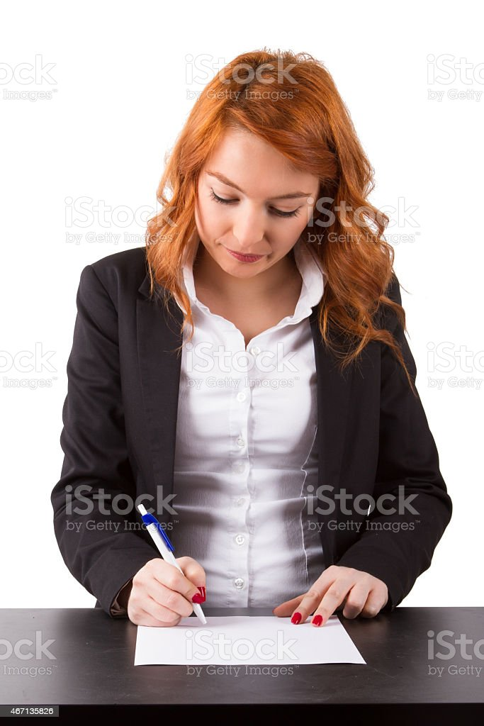 Business Woman Writing or Signing stock photo
