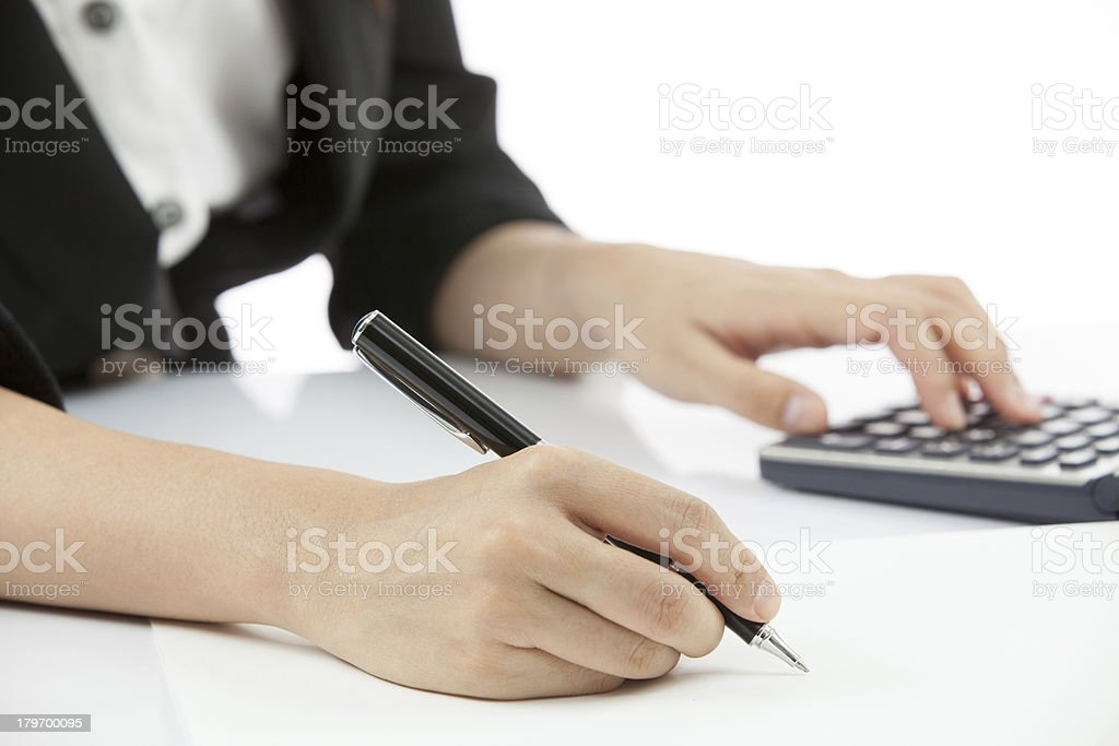 Business woman writing royalty-free stock photo