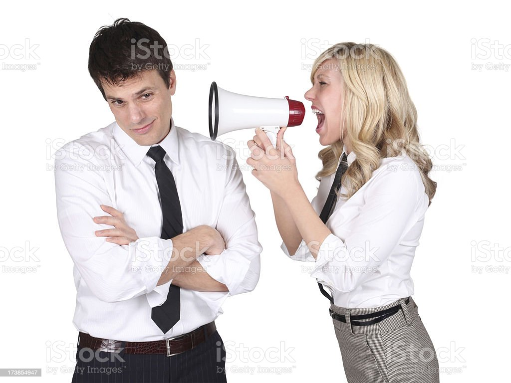 Business Woman Yelling at Man royalty-free stock photo