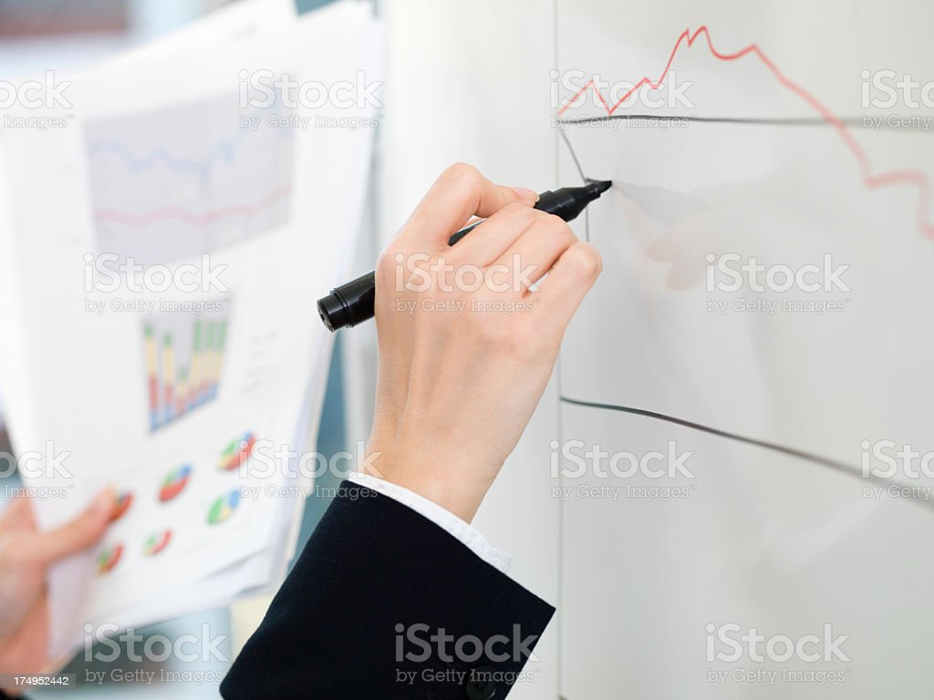 Business woman's hand to visualize the data. royalty-free stock photo