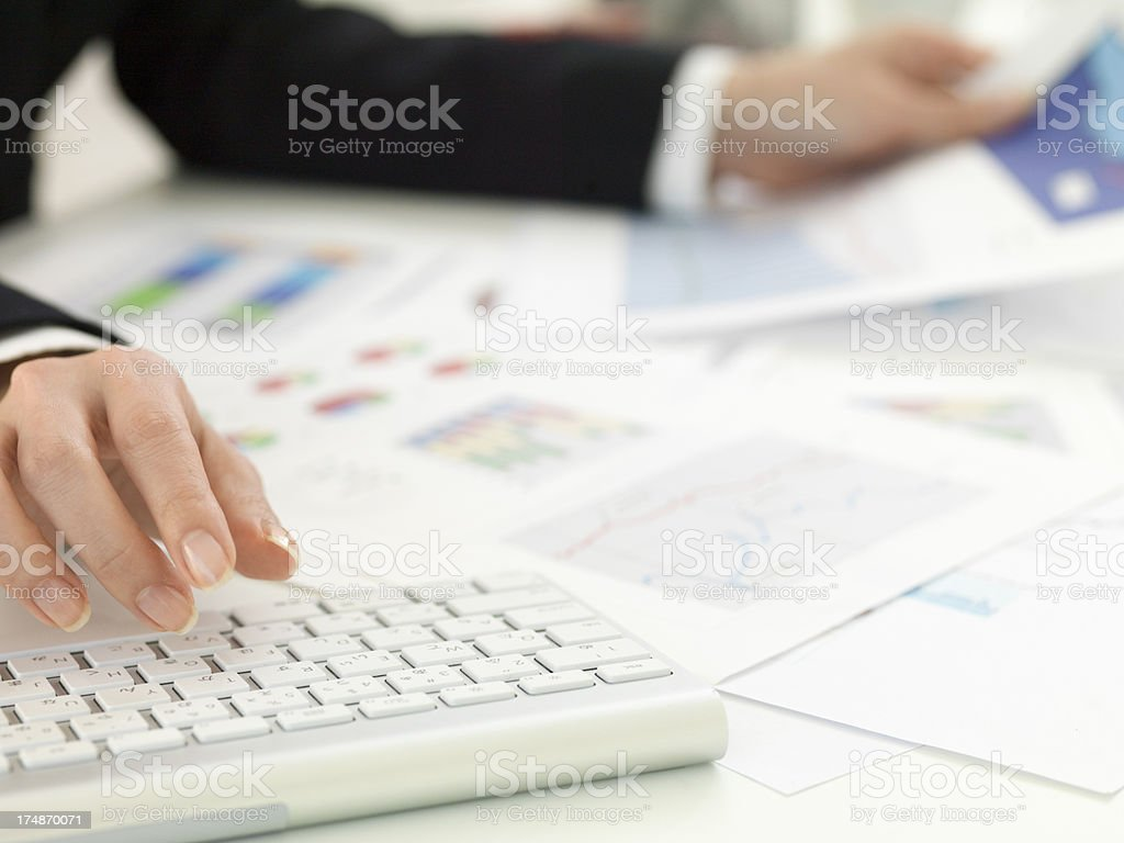 Business woman's hands and keyboard. stock photo