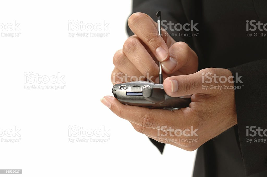 Business Womans Hands With Handheld Palm Phone stock photo