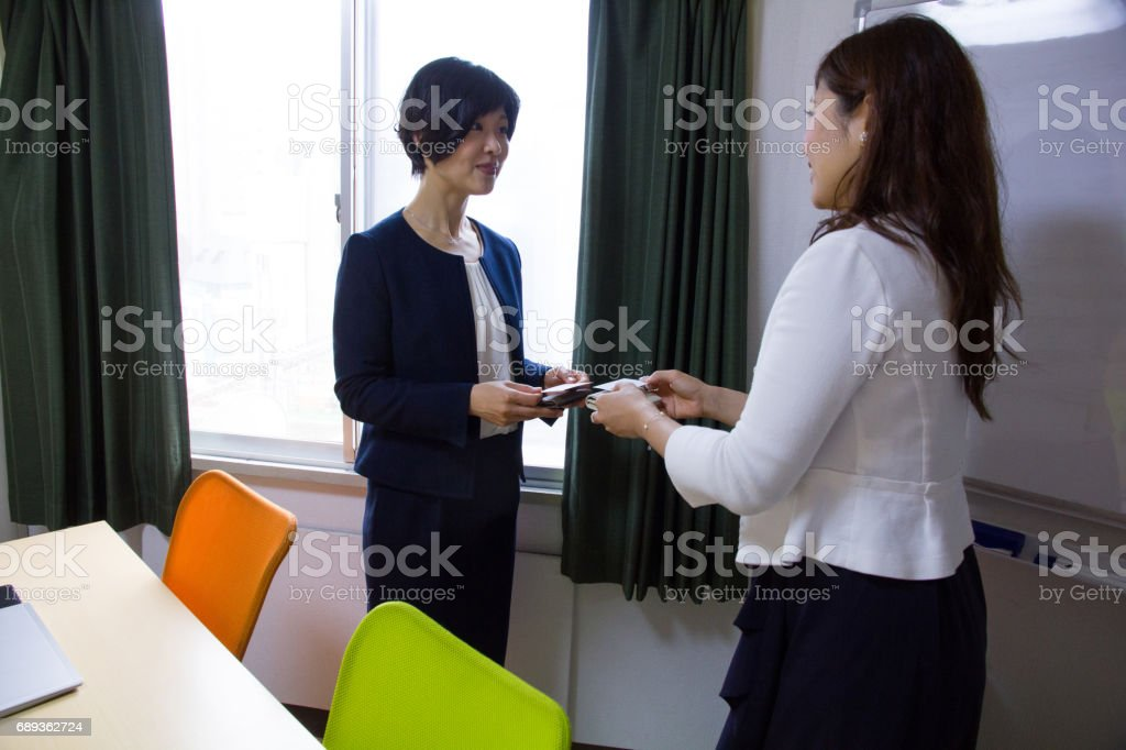 Business Women, Business Card stock photo