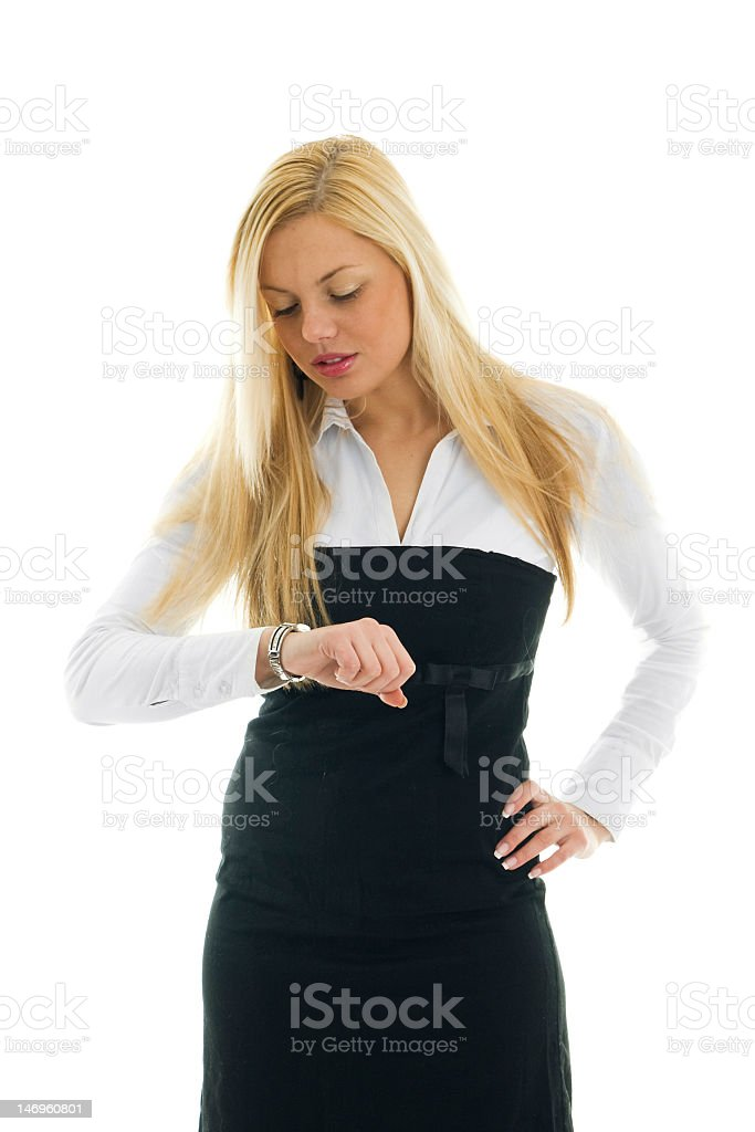 Business women checking time royalty-free stock photo