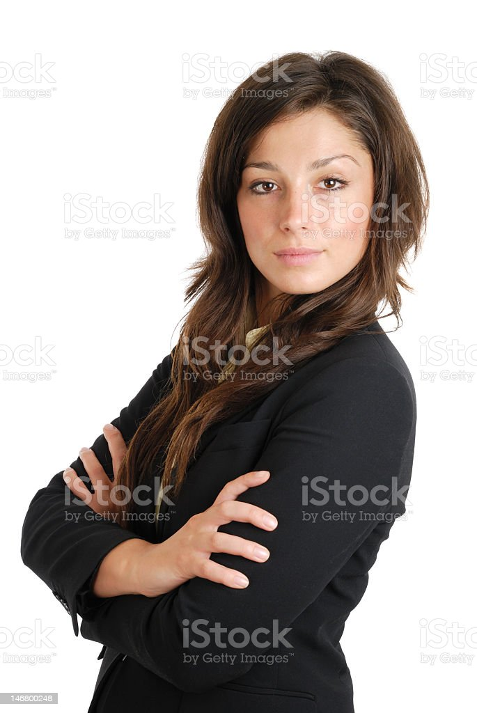 A business women poses confidently in black shirt stock photo