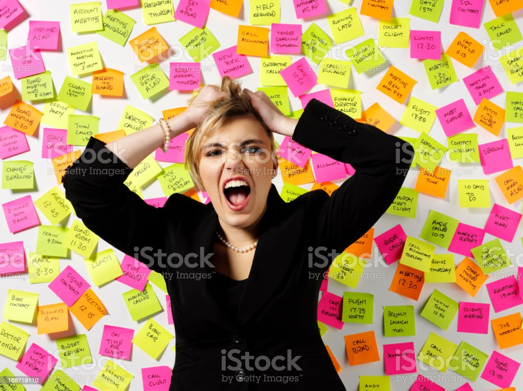 Business Women Pulling Her Hair Out royalty-free stock photo