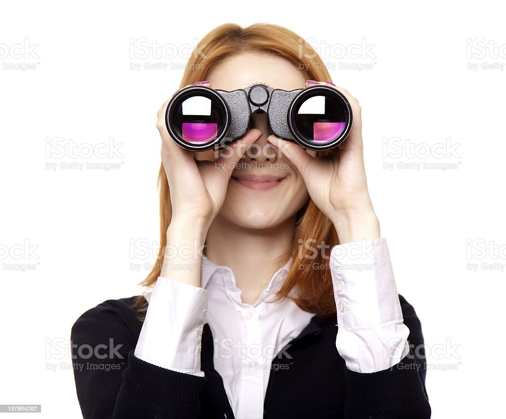 Business women seeking with binocular stock photo
