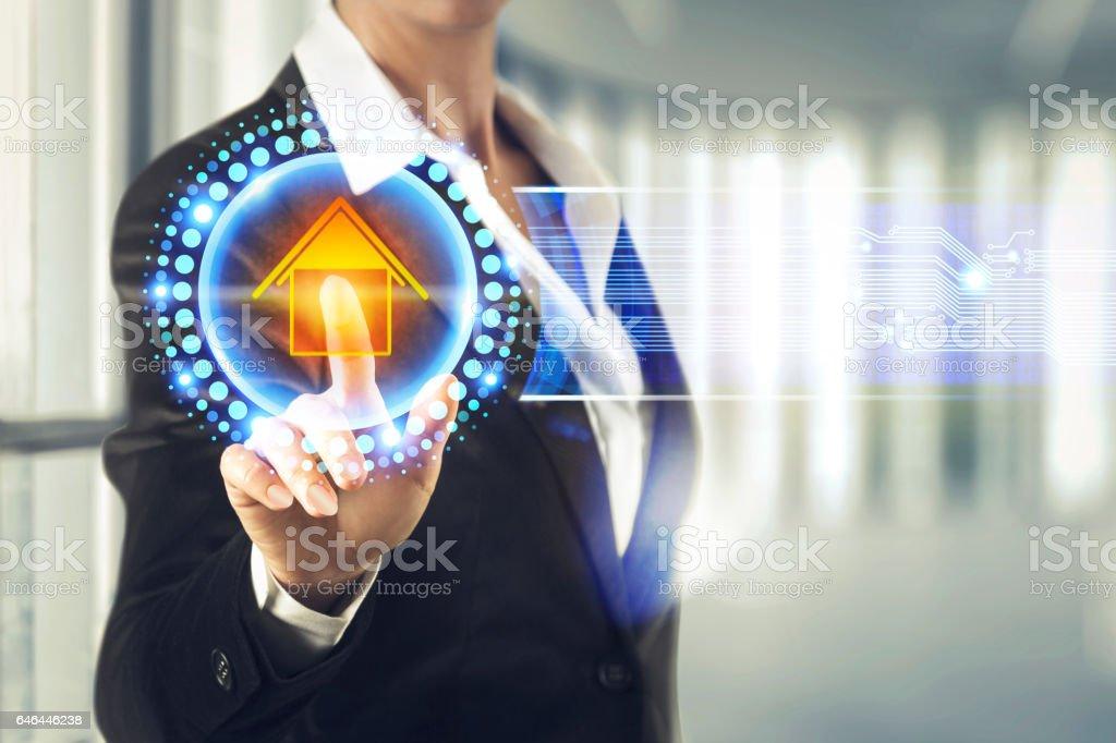 Business women touching the Estate screen stock photo