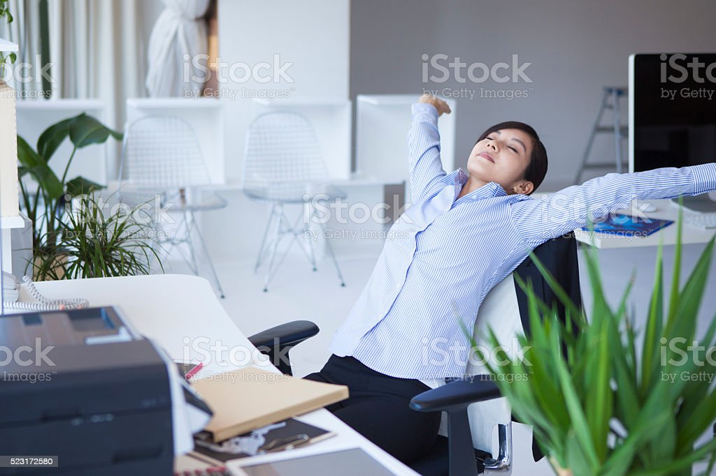 Business women who relax stretched out hand stock photo