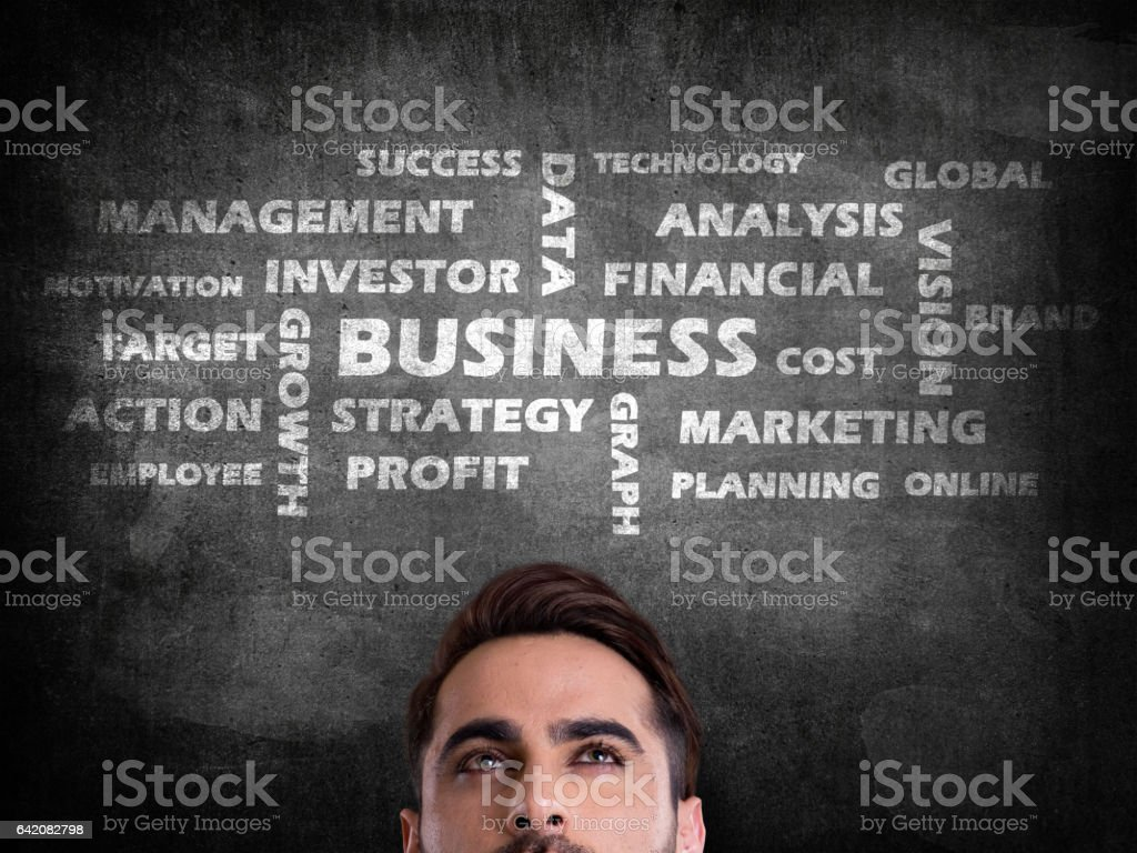 Business word cloud on blackboard stock photo