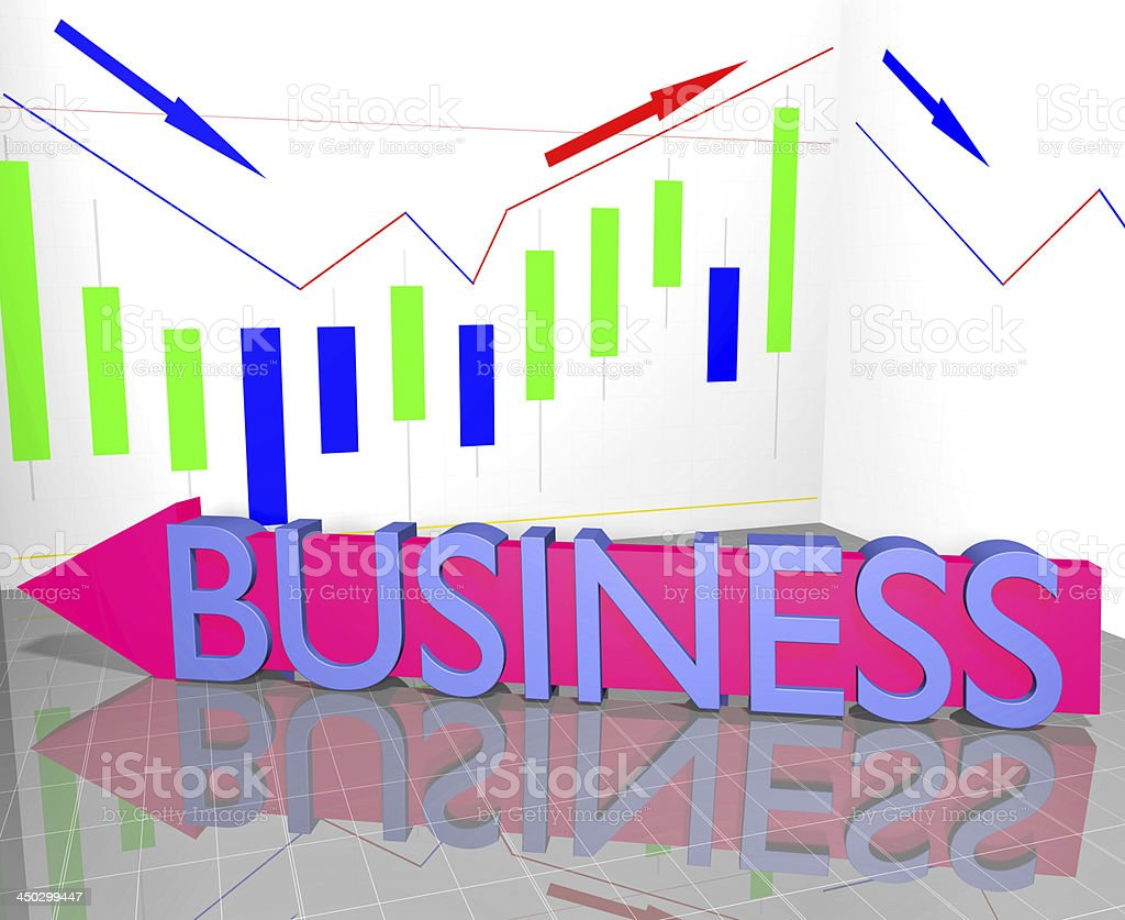 Business word on arrow and Statistic Diagram Graph Financial strategy royalty-free stock photo