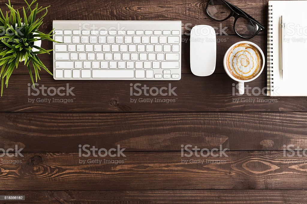 business workspace on top view stock photo
