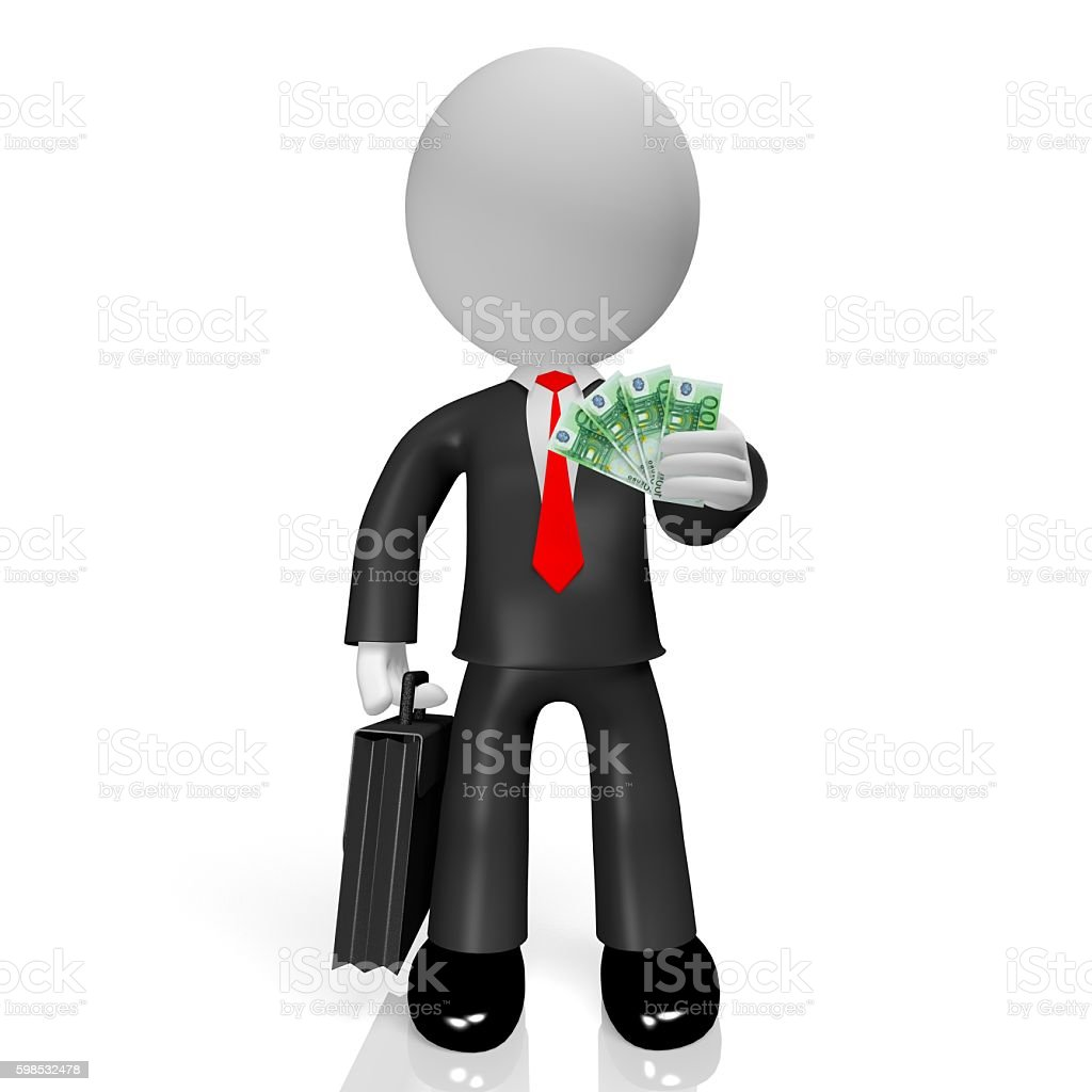 3D businessman, 100 Euro stock photo