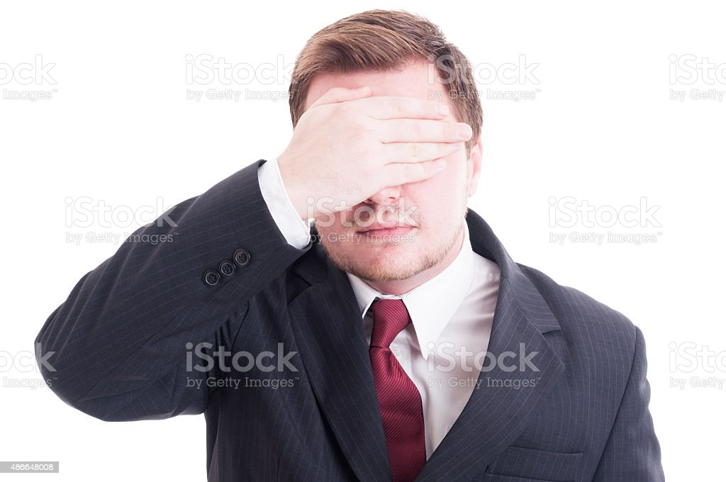 Businessman, accountant or financial manager covering eyes stock photo