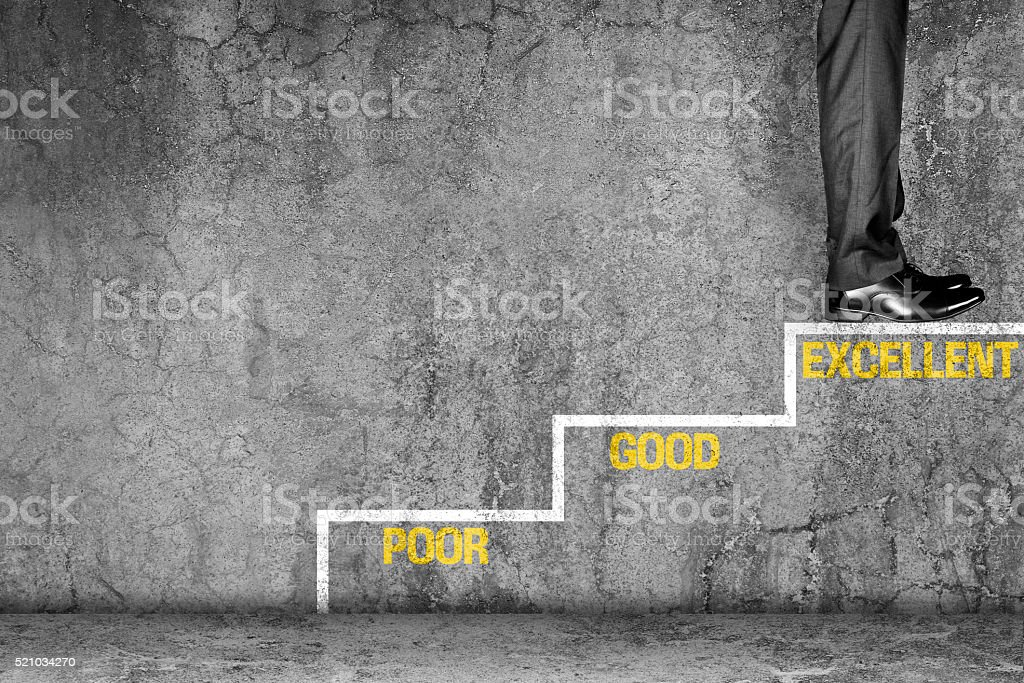 Businessman achieved his excellence stock photo