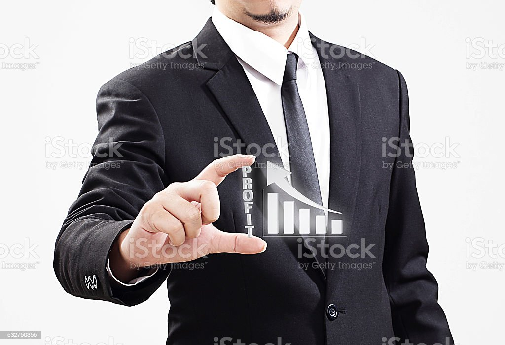 businessman acting display Profit that is worth very much stock photo