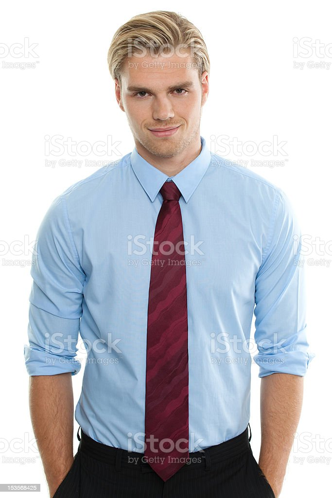 Businessman against a white background stock photo