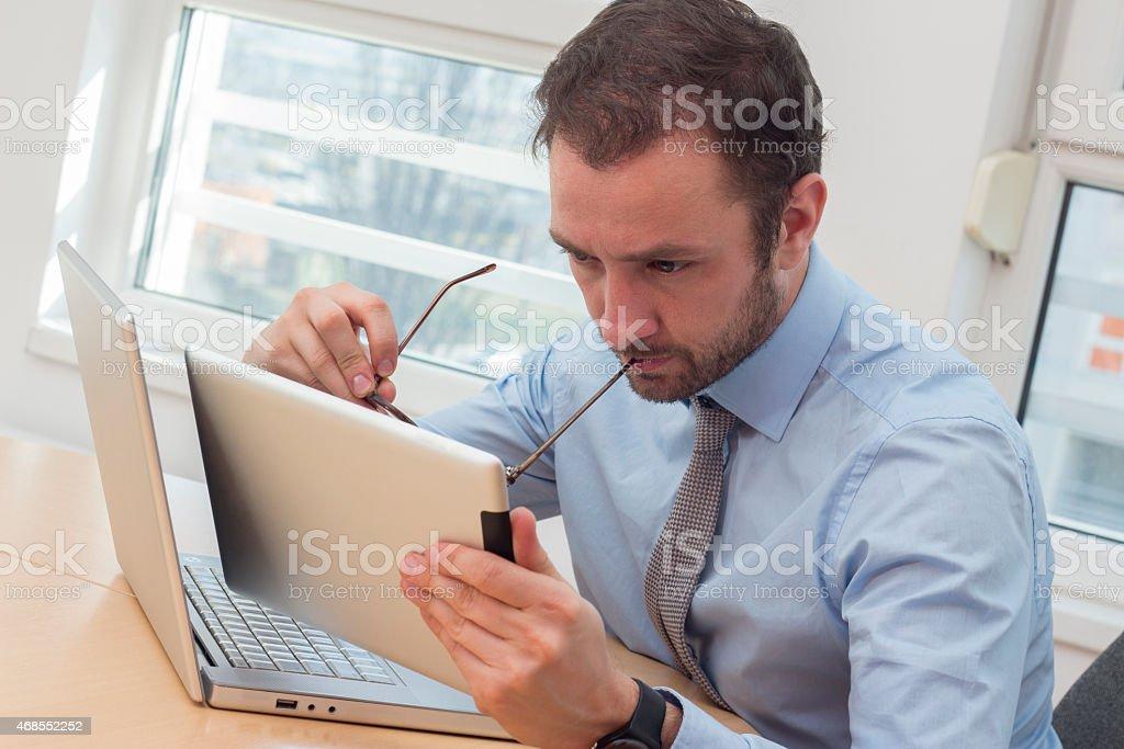 Businessman analyze stock photo