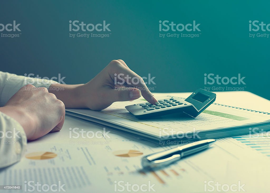Businessman analyzing financial data stock photo