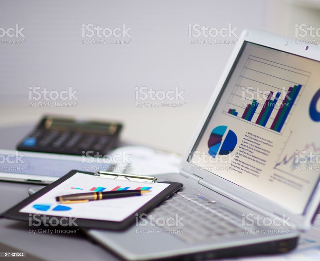 Businessman analyzing investment charts with a laptop. Accounting, increasing graph on the screen stock photo