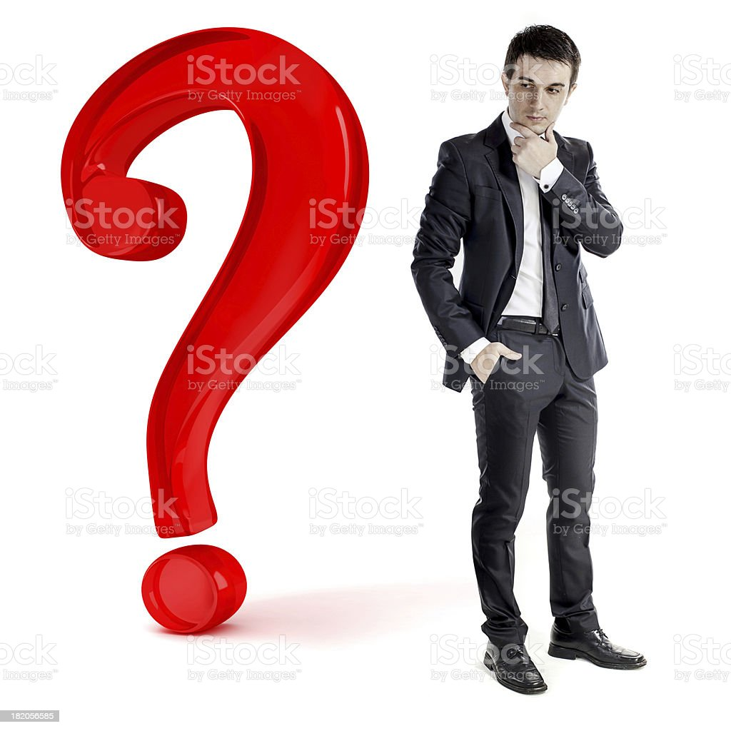 businessman and a big question mark, on white stock photo