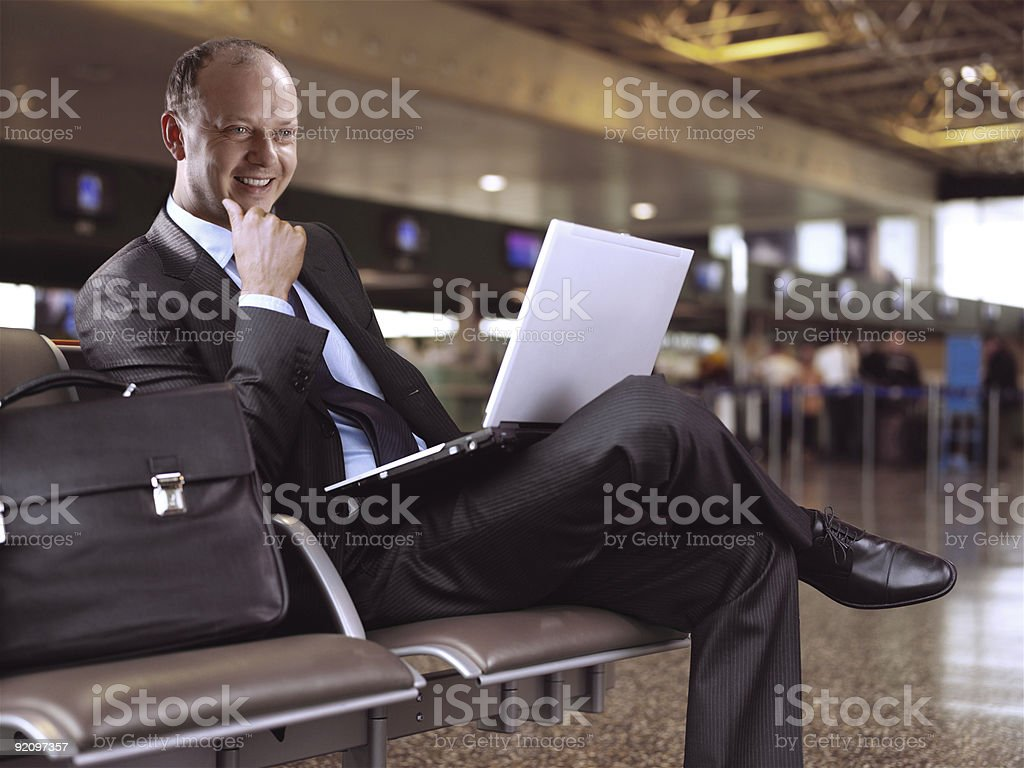 businessman and airport royalty-free stock photo