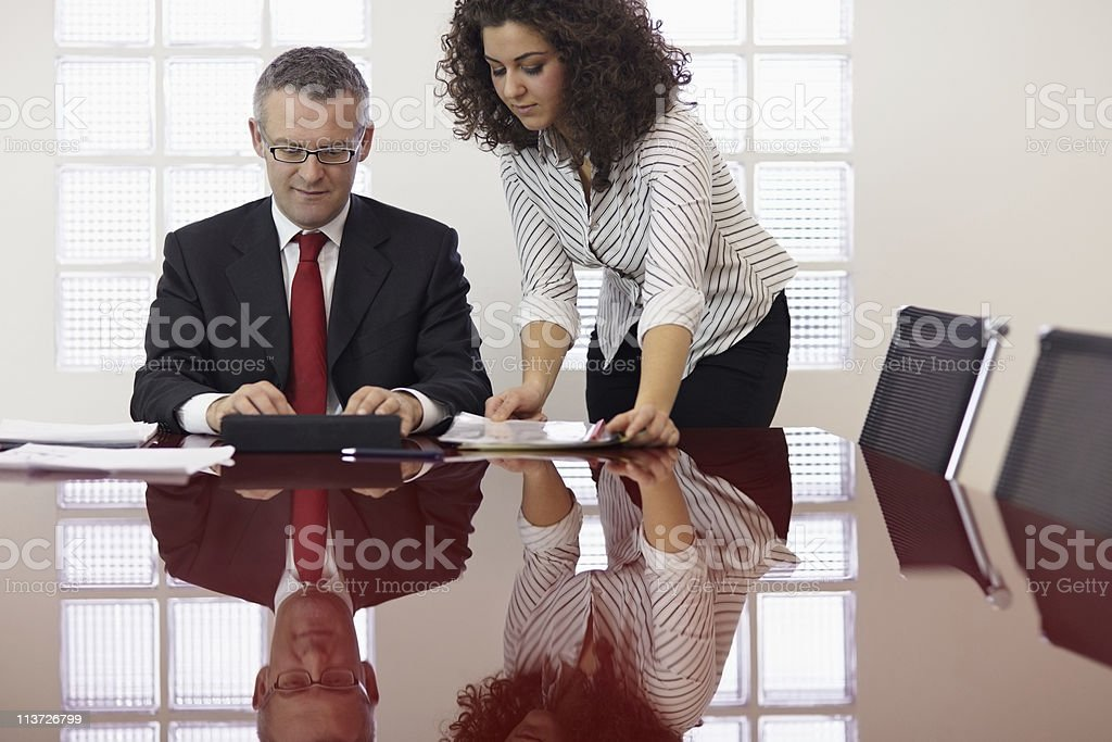 businessman and assistant with tablet pc royalty-free stock photo