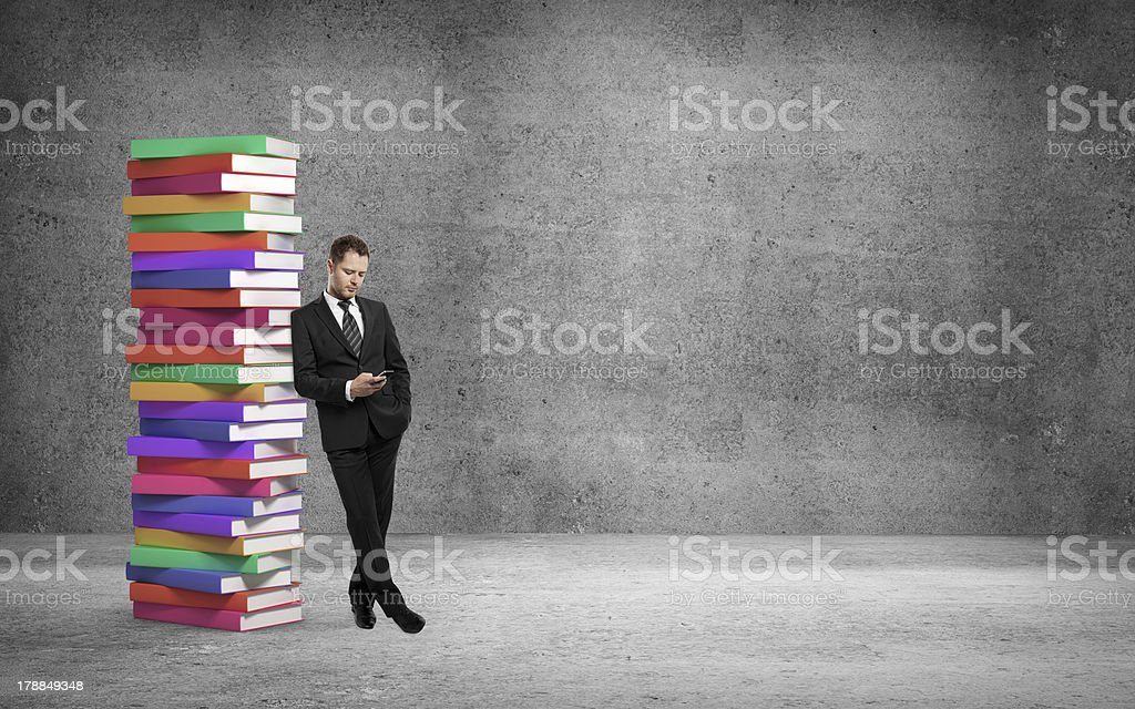 businessman and books royalty-free stock photo