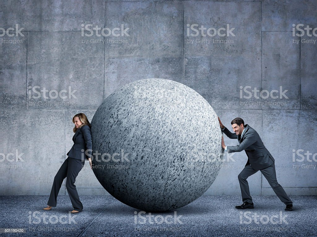 Businessman And Businesswoman Failing To Work Together stock photo