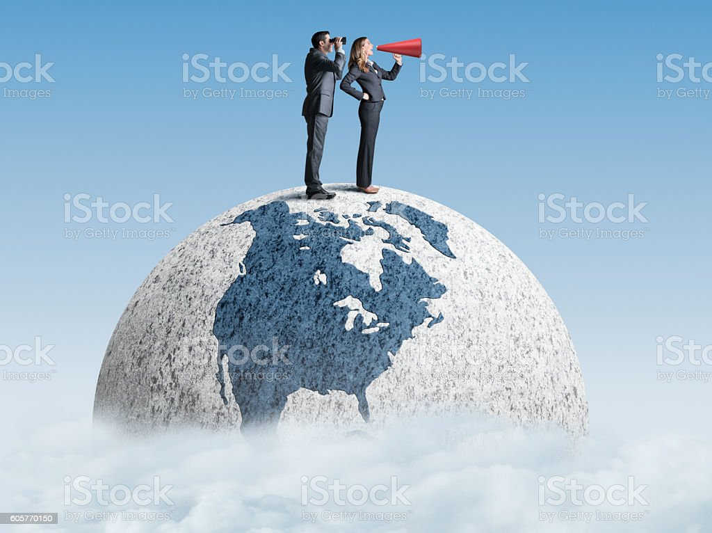 Businessman And Businesswoman Trying To Communcate stock photo