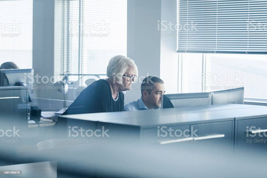 Businessman and businesswoman using computer at desk stock photo