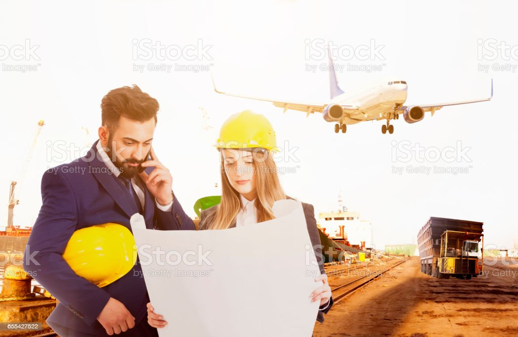 Businessman and businesswoman with global business background stock photo