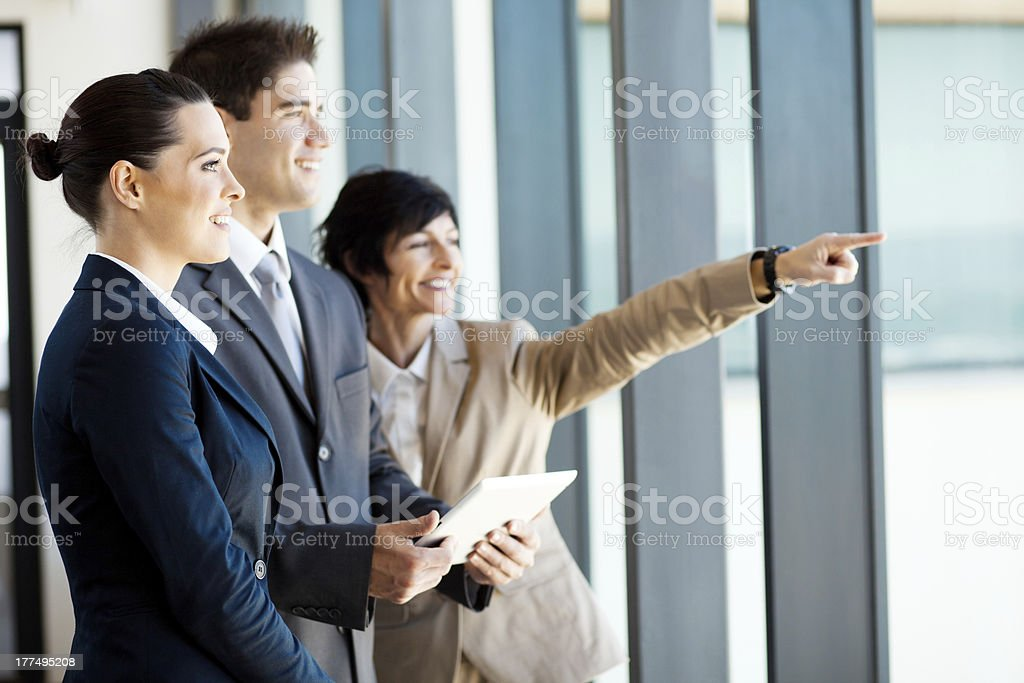businessman and businesswoman with tablet computer royalty-free stock photo