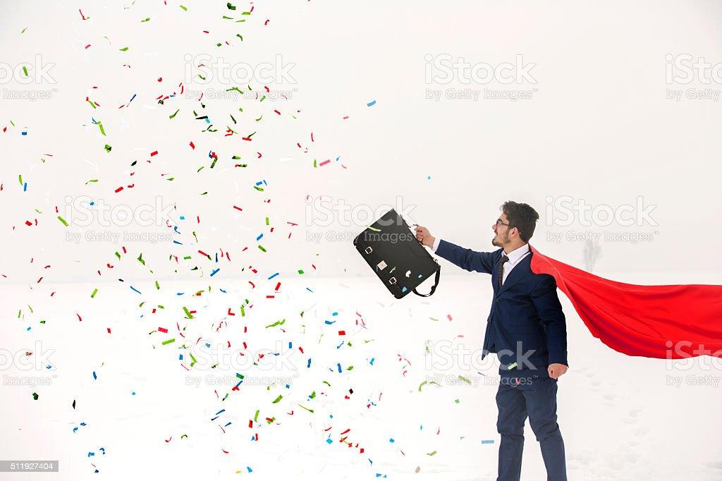 Businessman and celebration stock photo