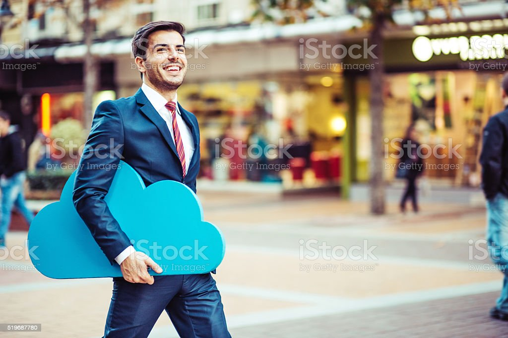 Businessman and cloud computing concept stock photo