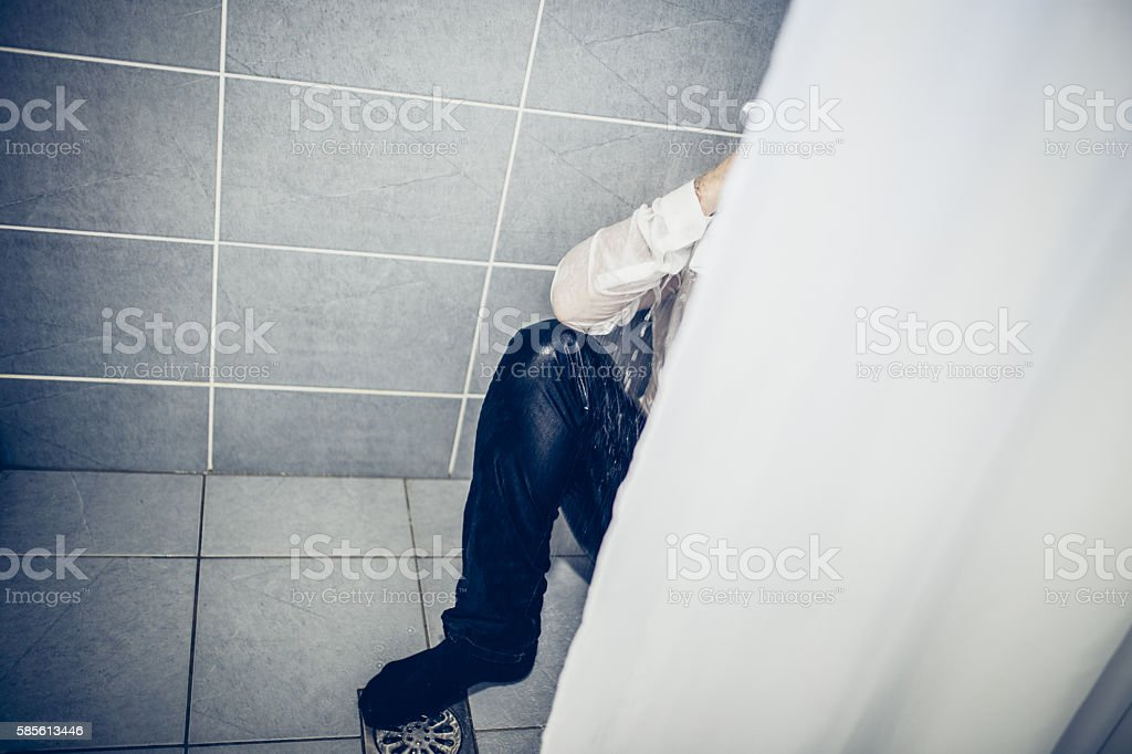 Businessman and cold shower stock photo