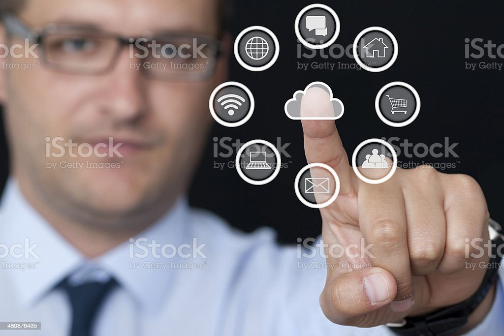 Businessman and Computer Icons stock photo