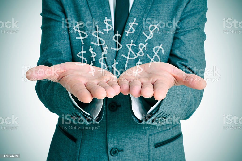 businessman and dollars stock photo
