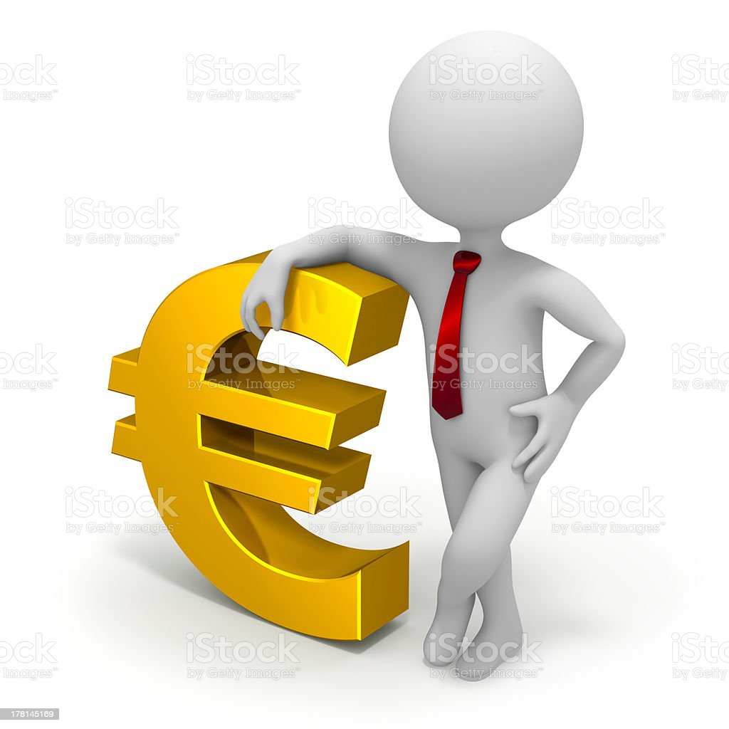 Businessman and euro currency symbol royalty-free stock photo